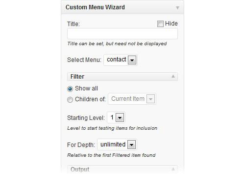 Custom Menu Wizard Widget