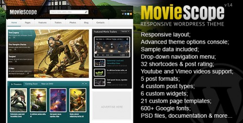 MovieScope - Responsive WP Portal Theme