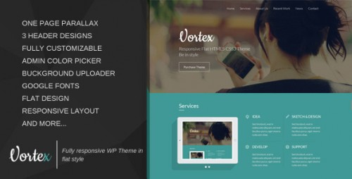 Vortex - One Page Parallax Flat WordPress Theme