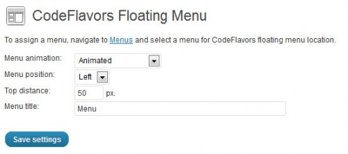 CodeFlavors Floating Menu