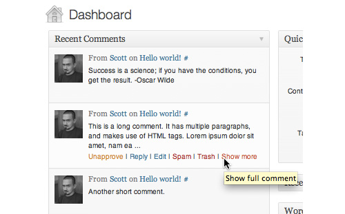 Expandable Dashboard Recent Comments