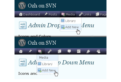 Ozh' Admin Drop Down Menu