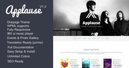 Applause - One-Page Responsive Music & DJ WP Theme